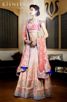 Latest Indian Bridal Trousseau Wear Photos - Kisneel by Pam Mehta. Pink and blue bridal designer lehengha with gold embroidery. Indian Bridal Wear, Indian Wedding Outfits, Pakistani Bridal, Indian Wear, Indian Outfits, Bridal Sari, Blue Bridal, Indian Weddings, Hindus