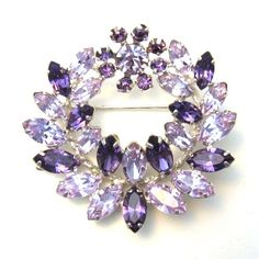TIFFANY JEWELRY BROOCHES WITH BLUE STONES | ... Purple and Blue Brooch at Classy Option - vintage purple blue brooch