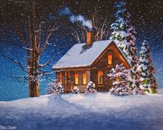 Winter house - christmas, serenity, peaceful, painting, path, new year, evening, winter, snowflakes, lights, night, calmness, cold, nice, trees, smoke, cabin, frozen, beautiful, lovely, frost, snow, snowing, pretty, cottage, house