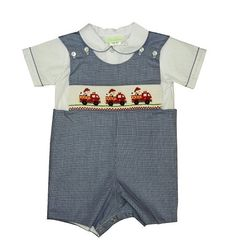 Navy Blue Shortall with Smocked Firetrucks and Dalmatians for Baby or Toddler Boys, $49.99  #smocking #boys #baby #toddler #kidsfashion