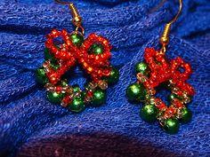 #beads #earrings #christmas #wreath