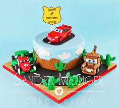 Cars Birthday cake with Mater, Lightening Mcqueen and Francesco Burnoulli