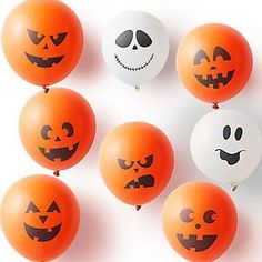 Complete your Halloween decor with these adorable pumpkin and ghost face balloons! A perfect touch and sure to get the party started! Set of 12 balloons. Halloween 1st Birthdays, Halloween Bebes, Fun Halloween Games, Halloween Balloons, Halloween Crafts For Kids, Halloween Birthday, Diy Halloween Decorations, Halloween House, Easy Halloween