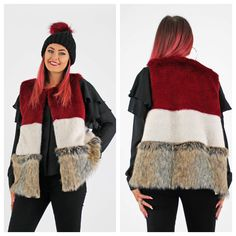 Stunning FAUX FUR gilet. NEW instore and online today. £55.00. One size.  CLICK 2 SHOP >>> http://www.pinkcadillac.co.uk/Burgundy-Cream-N