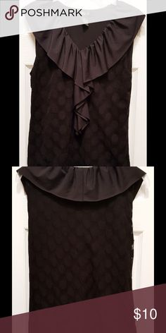 """Black Sleeveless Top with Ruffle Neckline Very cute sleeveless top with a pretty ruffled neckline. It is fully lined. It has a round dot design on it. 25""""L. Lining is 100% Nylon. Outer top is 84% Polyester and 6% Spandex. Style & Co Tops Blouses"""