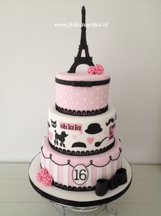 Pink Black Paris Cake - Sweet 16 cake for my daughter's birthday.