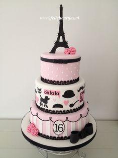 Pink Black Paris Cake - Sweet 16 cake for my daughter's birthday.
