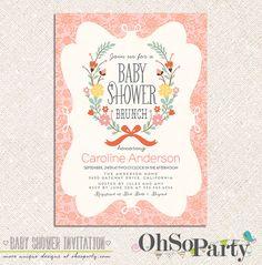 PETITE BRUNCH Custom Baby Shower Brunch Invitation Card on Etsy, $15.00