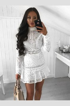 b15f5639bb64d High Neck White Lace Bodycon Club Dress with Long Sleeves HD3184   White  winter in 2019   Pinterest   Dresses, Club dresses and White lace