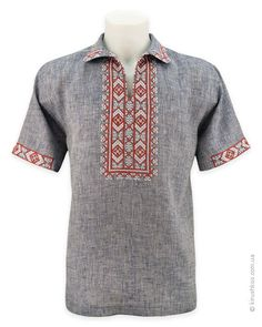 """Linen embroidery imitating """"jeans"""" with pattern """"Zakarpatye"""" African Men Fashion, Mens Fashion, African Shirts, Vintage Fashion, Men Casual, Embroidery, Coat, Jeans, Pattern"""