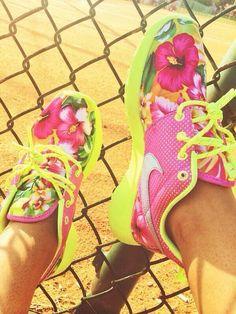 THE ORIGINAL Pink / Neon Custom Roshe Run by SneakerFlex on Etsy, $145.00