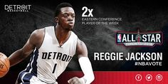 Reggie Jackson, 2x Eastern Conference player of the week. Vote for him to start in the 2016 NBA All Star Game 1/3/2016