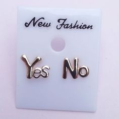 Golden Yes No Stud Earrings
