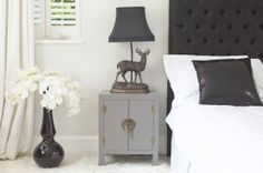 Rama & Sita Slate Grey Bedside Cabinet - contemporary - nightstands and bedside tables - The French Bedroom Company Cheap Bedside Tables, French Bedside Tables, Contemporary Side Tables, Contemporary Bedroom, Contemporary Nightstands, Bedside Cabinet, Dresser As Nightstand, Gray Bedroom, Trendy Bedroom