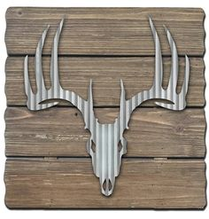 Check out this stained, distressed wood panels with a cutout of galvanized metal x Click this safe-linked pin to view! Reflective Art x 'Deer Skull' Metal & Wood Wall Plate Wall Decor, Tree Wall Decor, Metal Wall Decor, Plates On Wall, Wood Wall Art, Wall Décor, Wall Hooks, Art Decor, Starburst Wall Decor