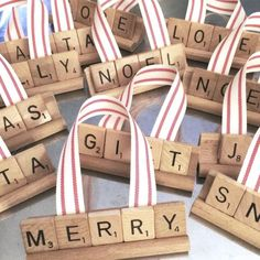 15 Upcycled Christmas Tree Ornaments - Salvage Sister and Mister Another year of making repurposed Christmas ornaments . They're some of my favorite things to make! Vintage Scrabble tiles are fun to use in these pr… Diy Christmas Garland, Silver Christmas Decorations, Handmade Christmas, Christmas Tree Ornaments, White Christmas, Vintage Christmas, Diy Upcycled Christmas Ornaments, Christmas Mantles, Christmas Villages