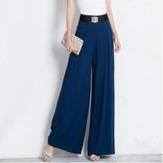 New 2017 Korean Wide leg Pants Culotte Middle-aged Women Comfortable loose High Waist Trousers Summer Thin loose Pants  #Affiliate