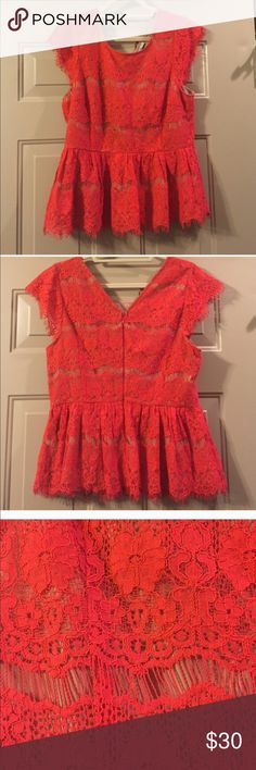 """Size Large Anthropologie Peplum Shirt Like New Beautiful Coral Red with Nude Lining. Worn twice and in great condition. Absolutely beautiful!  Unfortunately it's too small for me now. :(  Bust is 19"""" across. Had minimal stretch. Anthropologie Tops"""