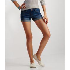 Aeropostale Medium Wash Cuffed Denim Midi Shorts ($16) ❤ liked on Polyvore featuring shorts, medium wash, cotton shorts, relaxed shorts, aéropostale, midi shorts and aeropostale shorts