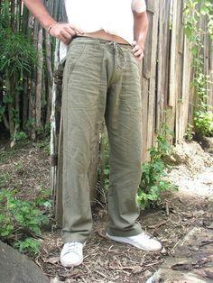 green hemp pants