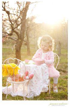 Little girls tea party at sunset