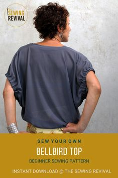 "A perfect sewing pattern to revive your sewing mojo. The Bellbird top is a true beginner sewing pattern for women of all ages. The designer large gathered sleeves and simple neck facing make this a ""wear anywhere"" garment and a favourite for summer. One of our most popular sewing patterns. #sewingpatternforwomen #beginnersewingpattern #blousesewingpattern Beginner Sewing Patterns, Modern Sewing Patterns, Sewing For Beginners, Weekend Wear, Woven Fabric, Popular, Couture, Simple, Sleeves"