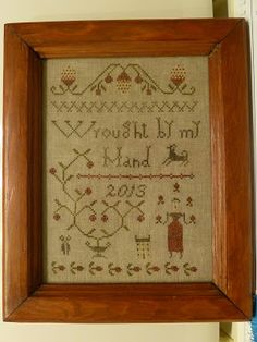 from the blog by Cottonwood Lane Primitives ~ sampler Design by Pineberry Lane