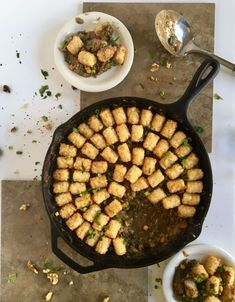 This spicy vegan tater tot hotdish is a killer adaptation of the classic hotdish, using spicy walnut meat to replace the traditional ground beef. Potluck Recipes, Dinner Recipes, Healthy Recipes, Dinner Ideas, Spicy Walnuts, Tater Tot Hotdish, Vegan Comfort Food, Recipe Images, Ground Beef