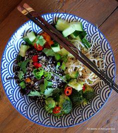 Noodle bowl with black rice noodles