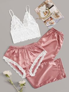 tiny pink spots and black lace trim S, Ladies black satin boxers