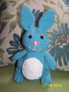 Blue and white stuffed bunny rabbithand by MadeinMassachusetts, $20.00