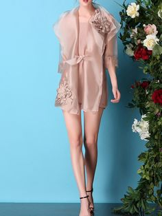Embroidered Organza Long coat and Dress $72.99