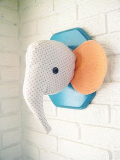 Handmade plush taxidermy elephant head by Kelsey Davis