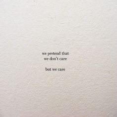 but we care