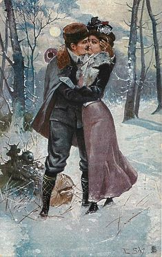 couple kissing in snow scene - TuckDB Postcards Romantic Couple Kissing, Romantic Couples, Snowy Woods, Winter Images, Painted Cottage, Acrylic Painting Techniques, Snow Scenes, Christmas Images, Artist