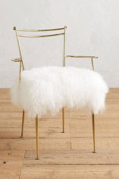 Anthropologie Shag Puff Dressing Chair