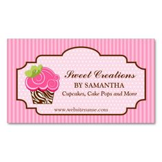 Business card showcase by socialite designs cupcake and cake pops elegant pink cupcake bakery business card reheart Images