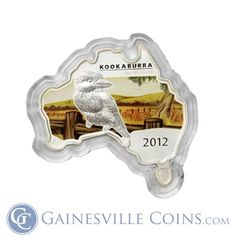 2012 1 oz Australia Proof Silver Map-Shaped Kookaburra #coin http://www.gainesvillecoins.com/
