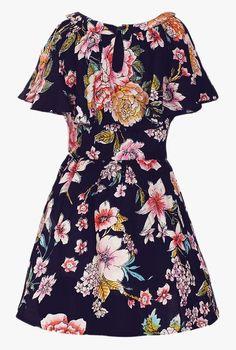 dd5250ab99a051 Buy Naughty Ninos Navy Printed Dress for Girls Clothing Online   Tata CLiQ