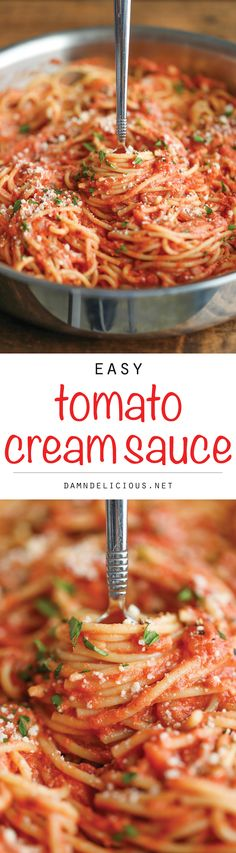 Spaghetti with Tomato Cream Sauce - Jazz up those boring spaghetti nights with this super easy, no-fuss cream sauce made completely from scratch!