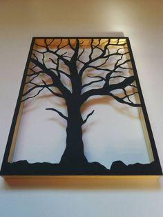 Black Tree, Wooden frame, Wall idea decor, Home design Black Silhouette, Tree Silhouette, Silhouette Design, Frames On Wall, Wooden Frames, Modern Wall Sculptures, Urban Decor, Bare Tree, Wall Decor