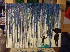 Crayon art - Puddles with dad - MORE ART, LESS CRAFT