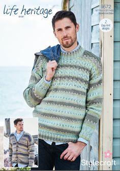 db7cb220e Stylecraft Life Heritage Aran Pattern 9572 Mens Basket Weave Sweater    Cardigan