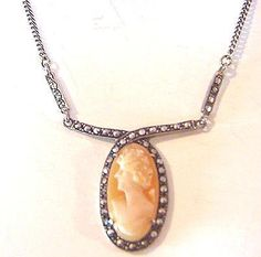Vintage Sterling Silver 935 Shell Cameo Marcasite by bitzofglitz4u, $130.00