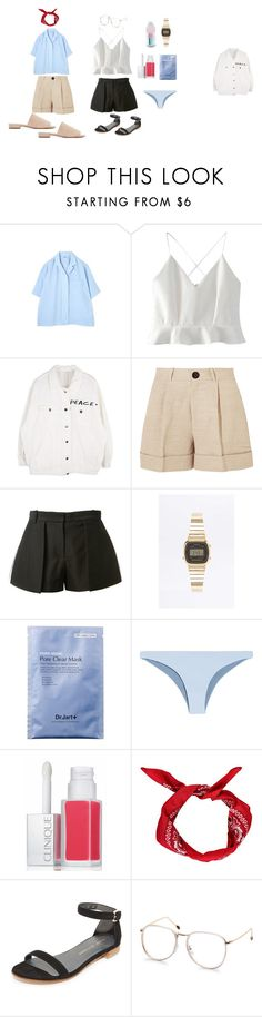 """""""summertime happiness"""" by jasminethewallflower on Polyvore featuring мода, Margaret Howell, WithChic, Totême, Vera Wang, Casio, FELLA, Clinique, Boohoo и Stuart Weitzman"""