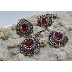 Ruby Sterling Silver Hurrem Sultan Set #silver #set #ottoman #wholesale #women #fashion #turkish #handmade #jewelry #jewellers #jewellery #jewel #ruby #granat #emerald #sapphire #gemstone #new #antique #ring #earring #necklace