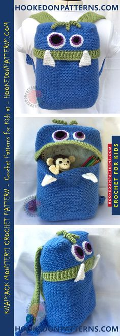 Knapsack Crochet Pattern - Knapsack Monsters are happy to gobble up anything and hop on to your back. The arm straps are adjustable so the backpack can fit any age. #crochet #bag #knapsack #school