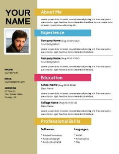 Great Colorful Resume Template  Colorful Resume Templates