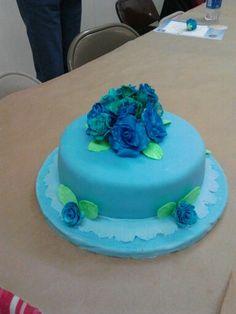 Final cake for Wilton's Cake Decorating Class Course. 3. Fondant. & Gum Paste