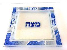 Passover Matza Platter Glass Plate Seder Judaica Handmade Blue Ice Pattern
